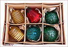 BOX OF 6 WEST GERMANY GLASS ORNAMENTS SOLD BY SEARS