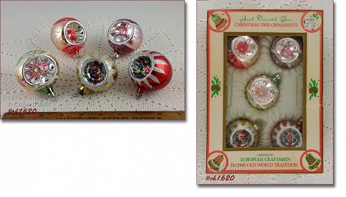 5 HAND DECORATED ROUND GLASS INDENT / REFLECTOR ORNAMENTS