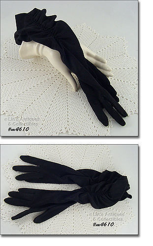 VINTAGE LONG BLACK GLOVES WITH RUCHING SIZE 6