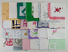 25 VINTAGE HANKIES WITH SEVERAL FLAWS FOR RE-PURPOSING OR CRAFTING