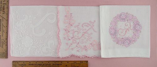 CHOICE OF VINTAGE MONOGRAM HANDKERCHIEFS MONOGRAMS L and F