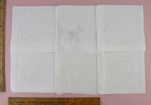 CHOICE OF VINTAGE MONOGRAM HANDKERCHIEFS MONOGRAMS G, M, W, and F