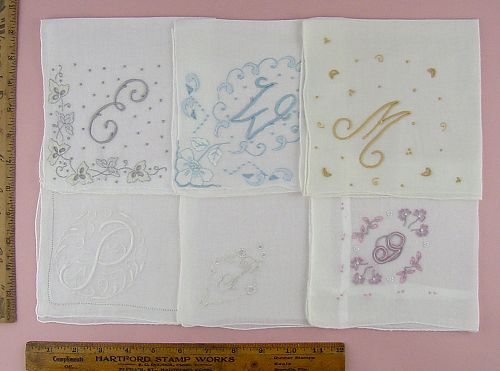 CHOICE OF VINTAGE MONOGRAM HANKIES MONOGRAMS E, W, M, P, F, and G