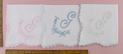 CHOICE OF VINTAGE MONOGRAM G HANDKERCHIEFS