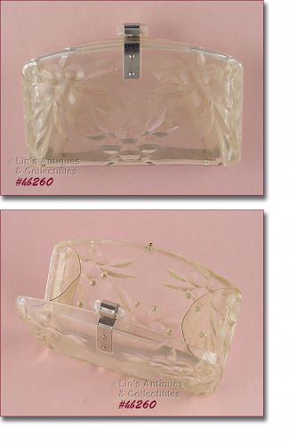 CLEAR LUCITE CLUTCH WITH RHINESTONE ACCENTS