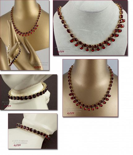 AVON RED RHINESTONES NECKLACE PLUS A FREE BRACELET!!