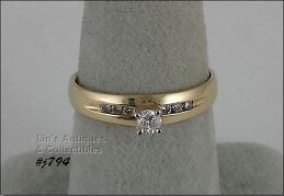 10K YELLOW GOLD DIAMOND ENGAGEMENT RING SIZE 7 ½