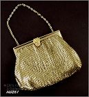WHITING AND DAVIS GOLD COLOR MESH HANDBAG