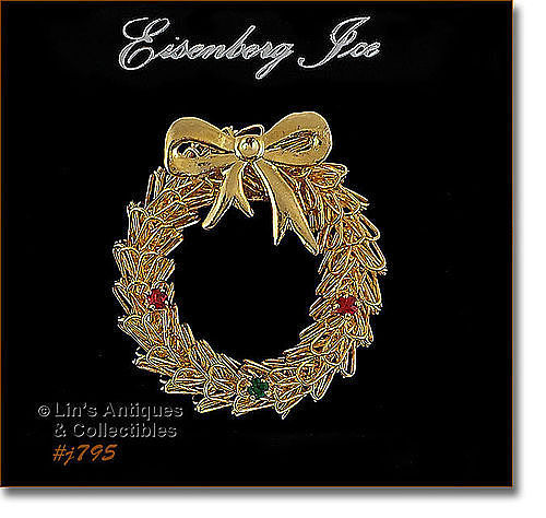 EISENBERG ICE WREATH SHAPED PIN GOLD TONE W/ RHINESTONE ACCENTS