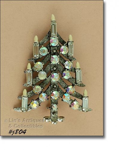 Eisenberg Ice Candle Tree Christmas Tree Pin with Enamel Flame Tips
