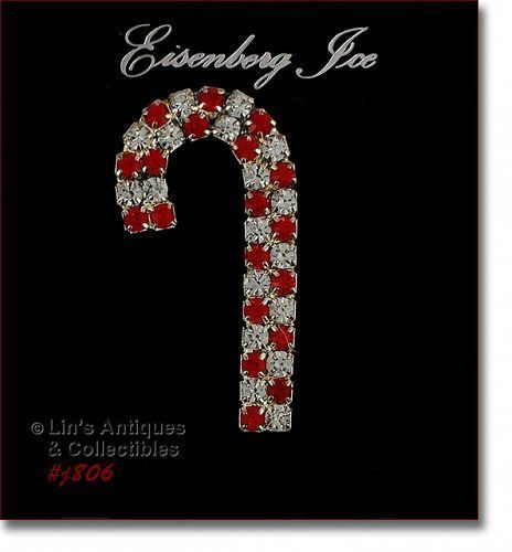 Eisenberg Ice Rhinestone Candy Cane Shaped Christmas Pin
