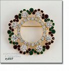 Eisenberg Ice Dark Red, Dark Green, and Clear Rhinestones Wreath Pin