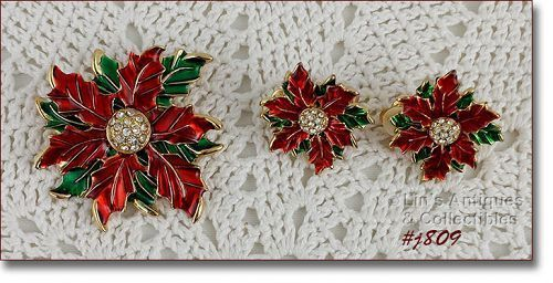Eisenberg Ice Poinsettia Pin and Matching Poinsettia Clip Earrings