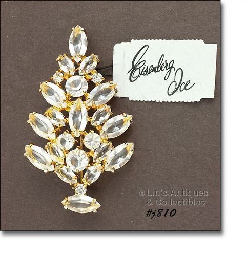 Eisenberg Ice Prong-Set Clear Rhinestones Christmas Tree Shaped Pin