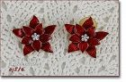 Eisenberg Ice Red Poinsettia Shaped Pierced Earrings
