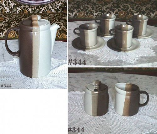 McCOY POTTERY -- SANDSTONE COFFEE SERVICE FOR 4!