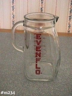 GLASSWARE --  EVENFLO ADVERTISING PITCHER