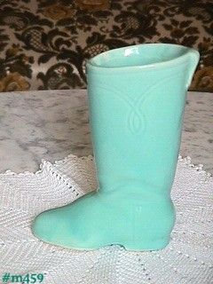 SHAWNEE POTTERY -- LARGE EMBOSSED BOOT PLANTER (AQUA)
