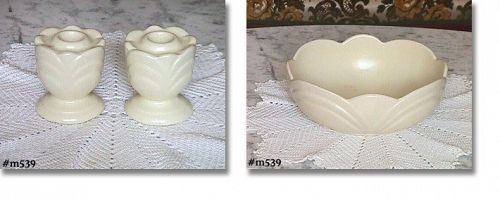 SHAWNEE POTTERY -- CENTERPIECE AND CANDLEHOLDERS