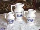 McCOY POTTERY -- 3 BLUE WILLOW PITCHERS!
