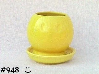 McCOY POTTERY -- SMILEY FACE PLANTER WITH DRIP SAUCER