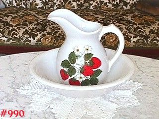 McCOY POTTERY -- STRAWBERRY COUNTRY PITCHER AND BOWL