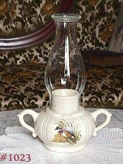 McCOY POTTERY -- CANDLE LAMP WITH GLASS CHIMNEY