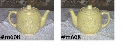 SHAWNEE POTTERY -- FLOWER AND FERN TEAPOT (YELLOW)