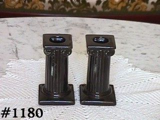 McCOY POTTERY -- COLUMN SHAPED CANDLEHOLDERS (BLACK)