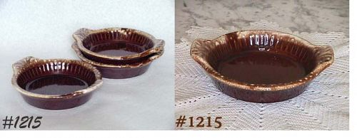 McCOY POTTERY -- BROWN DRIP INDIVIDUAL SIZE BAKERS (4)