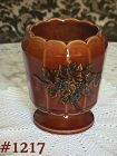McCOY POTTERY -- ANTIQUE CURIO ROUND PEDESTAL PLANTER