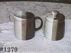 McCOY POTTERY -- SANDSTONE CREAMER AND SUGAR WITH LID