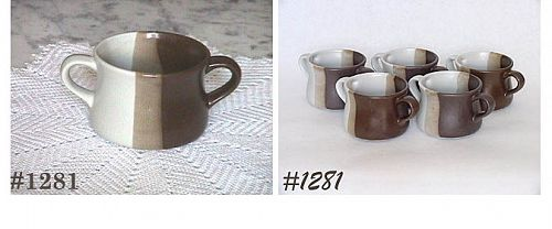 McCOY POTTERY -- SIX SANDSTONE SOUPS WITH TWO HANDLES