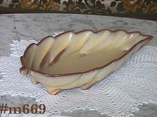 FRANKOMA POTTERY -- LEAF SHAPED DISH (DESERT GOLD)