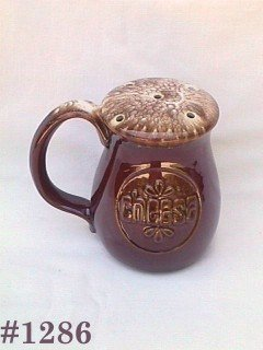 McCOY POTTERY -- CHEESE SHAKER (BROWN DRIP)