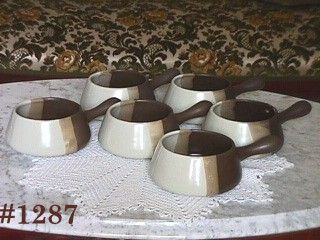 McCOY POTTERY -- SANDSTONE FRENCH CASSEROLES (6)