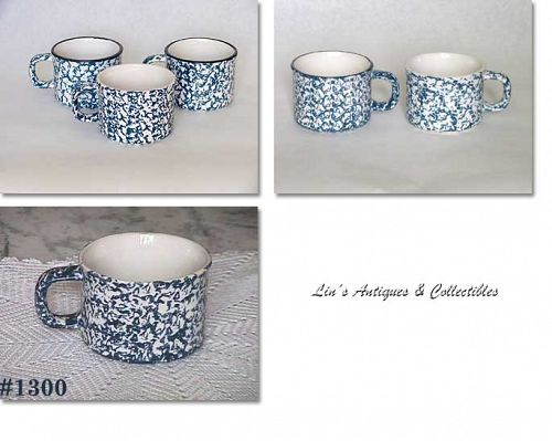 McCOY POTTERY -- BLUE COUNTRY MUGS (6)