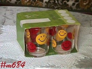 GLASSWARE -- FOUR SMILE FACE GLASSES (LIBBEY)
