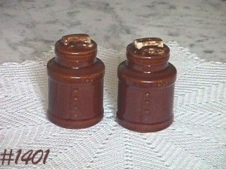 McCOY POTTERY -- BROWN DRIP SALT AND PEPPER SET