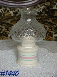 McCOY POTTERY -- STONECRAFT PINK AND BLUE CANDLE LAMP