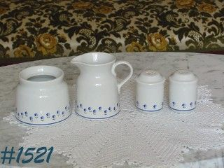 McCOY POTTERY -- McCOY LTD LaBLEU SALT,PEPPER,CREAMER, AND SUGAR