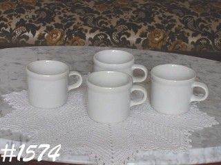 McCOY POTTERY -- SET OF 4 CUPS ALL WHITE NO DESIGNS
