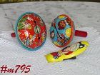 VINTAGE TOYS -- TWO METAL NOISEMAKERS AND 1 METAL CLICKER NOISEMAKER