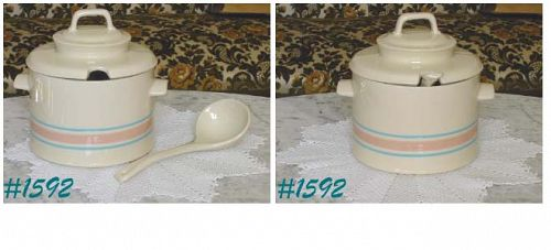 McCOY POTTERY -- STONECRAFT PINK AND BLUE TUREEN SET