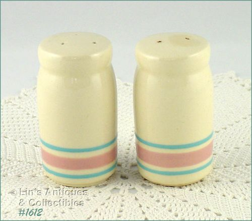 McCOY POTTERY -- STONECRAFT PINK AND BLUE SHAKER SET