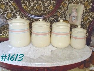 McCOY POTTERY -- STONECRAFT PINK AND BLUE CANISTER SET