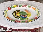 VINTAGE COLORFUL ENAMELWARE TURKEY PLATTER