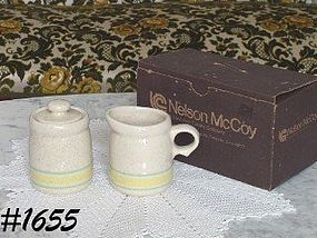 McCOY POTTERY -- STONECRAFT CREAMER AND SUGAR W/BOX!