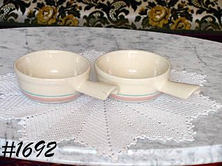 McCOY POTTERY -- TWO STONECRAFT PINK & BLUE CASSEROLES