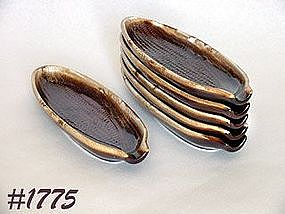 McCOY POTTERY -- BROWN DRIP CORN HOLDERS (6)